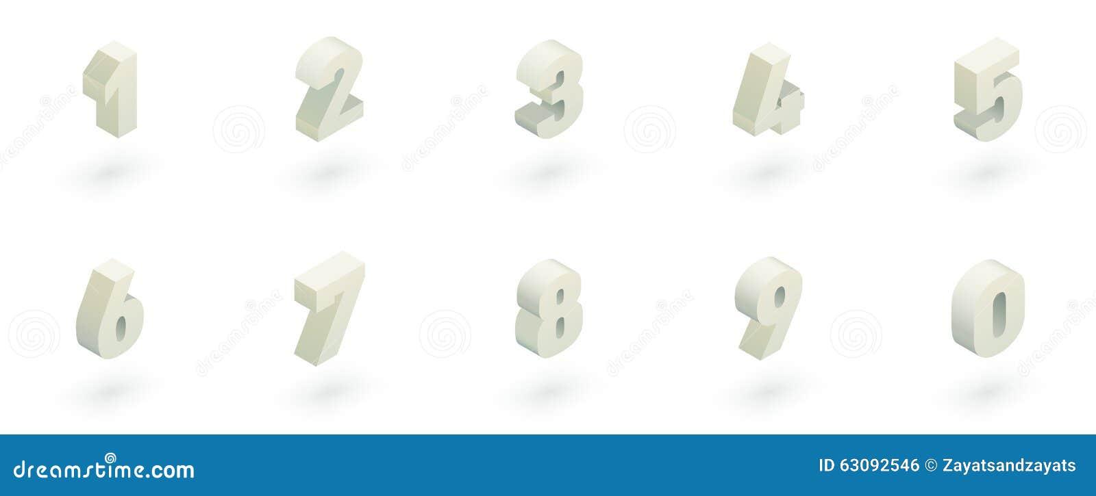 Download Nombres Isométriques Réglés Illustration de Vecteur - Illustration du fonte, positionnement: 63092546