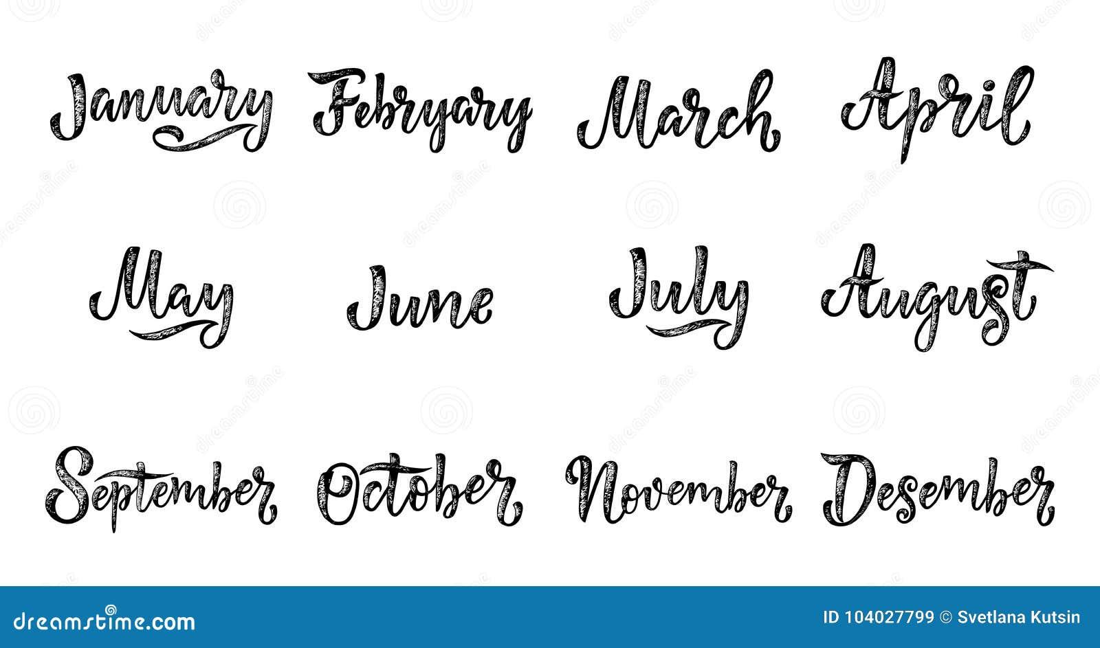 Nombres Manuscritos De Los Meses Diciembre Enero Febrero Marzo