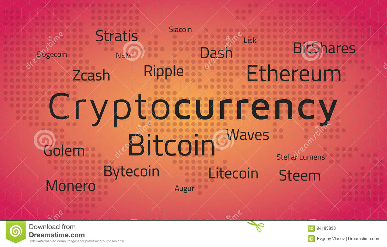 Nombres y mapa del mundo del top de Cryptocurrency Vector Editable EPS10