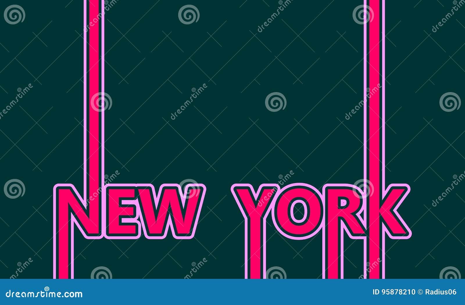 Nome de New York City Conceito criativo do cartaz da tipografia