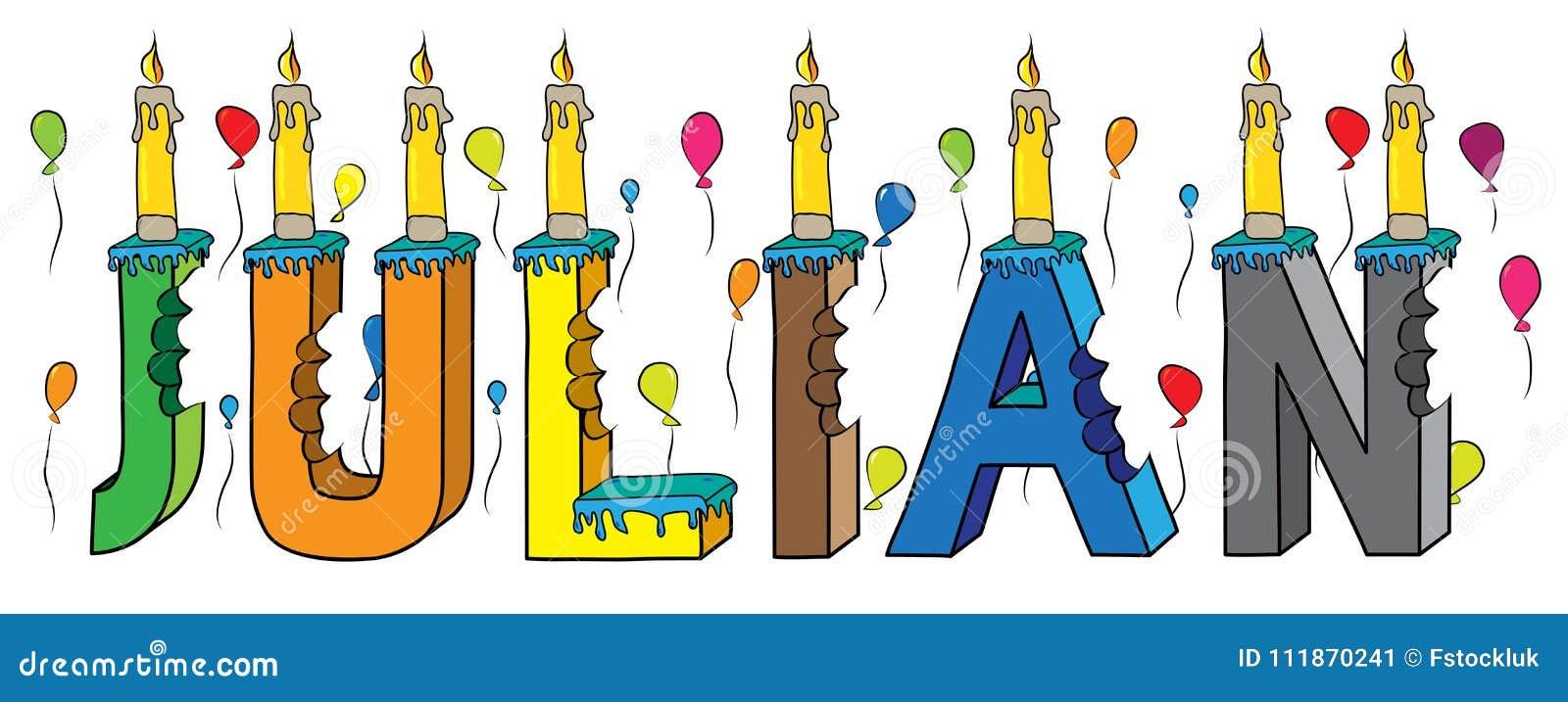Nome masculino juliano bolo de aniversário colorido mordido da rotulação 3d com velas e balões