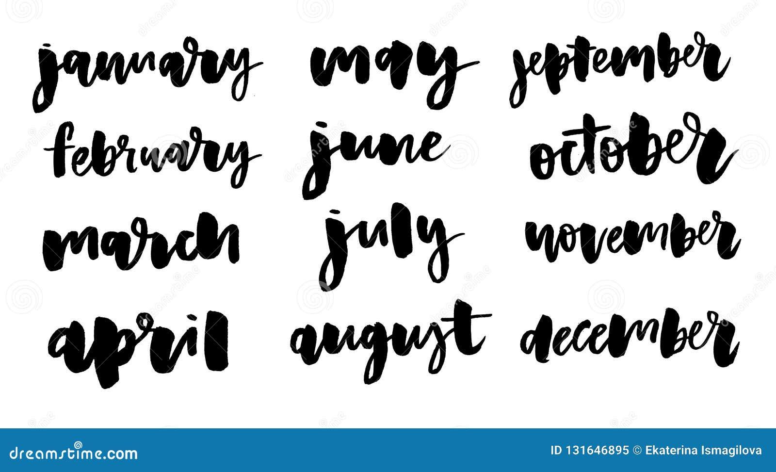 Nomi scritti a mano dei mesi: Dicembre, gennaio, febbraio, marzo, April May June July August settembre ottobre novembre