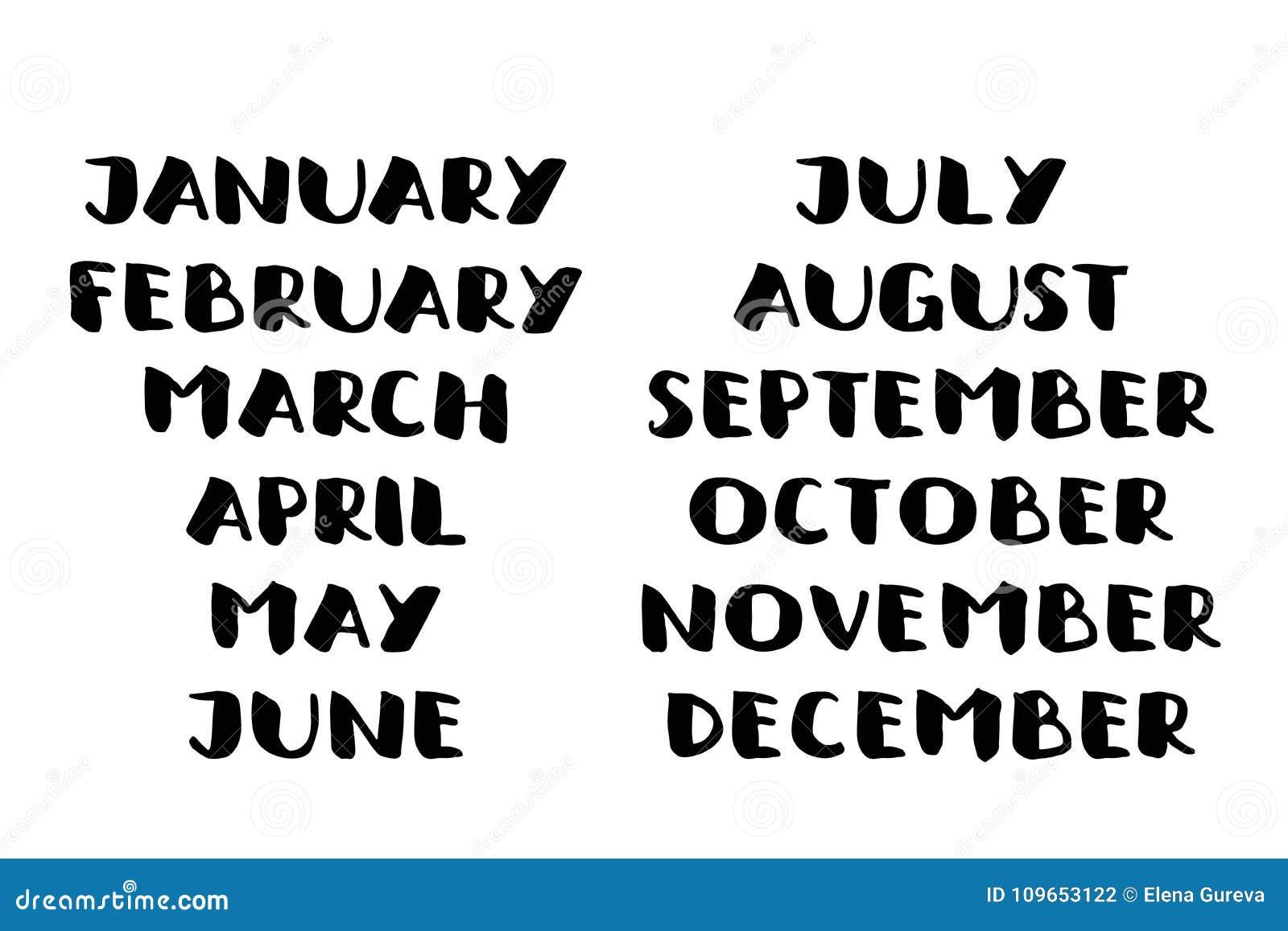 Nomi scritti a mano dei mesi Modello del calendario