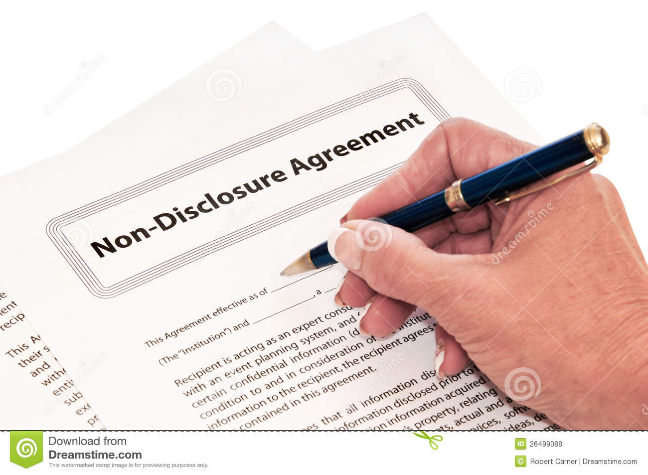 Non Disclosure Agreement Isolated On White Stock Photo Image Of