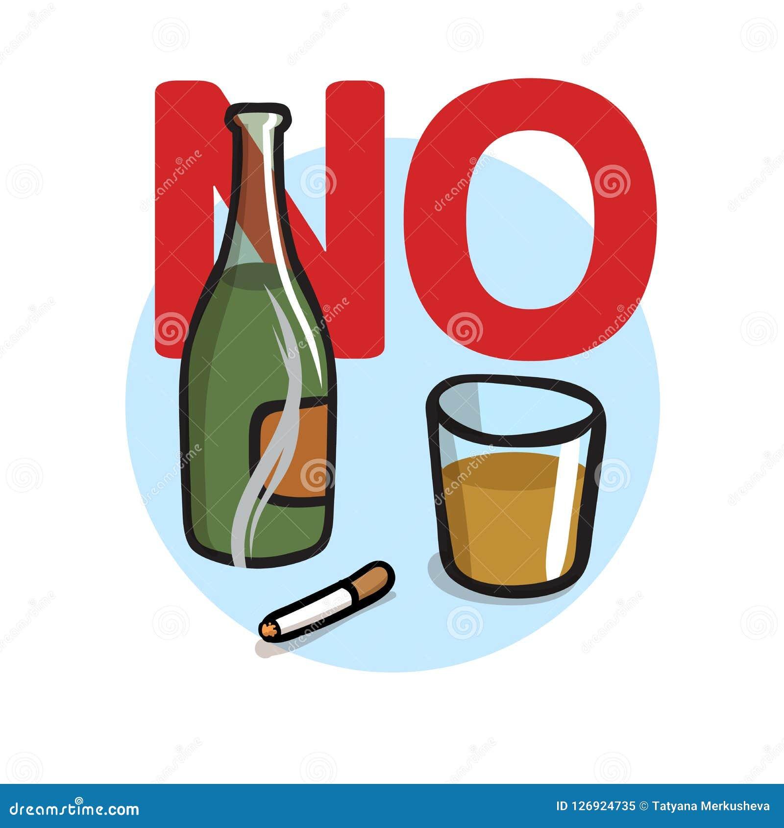 Non fumatori, nessun alcool Illustrazione piana di vettore Isolato su priorità bassa bianca