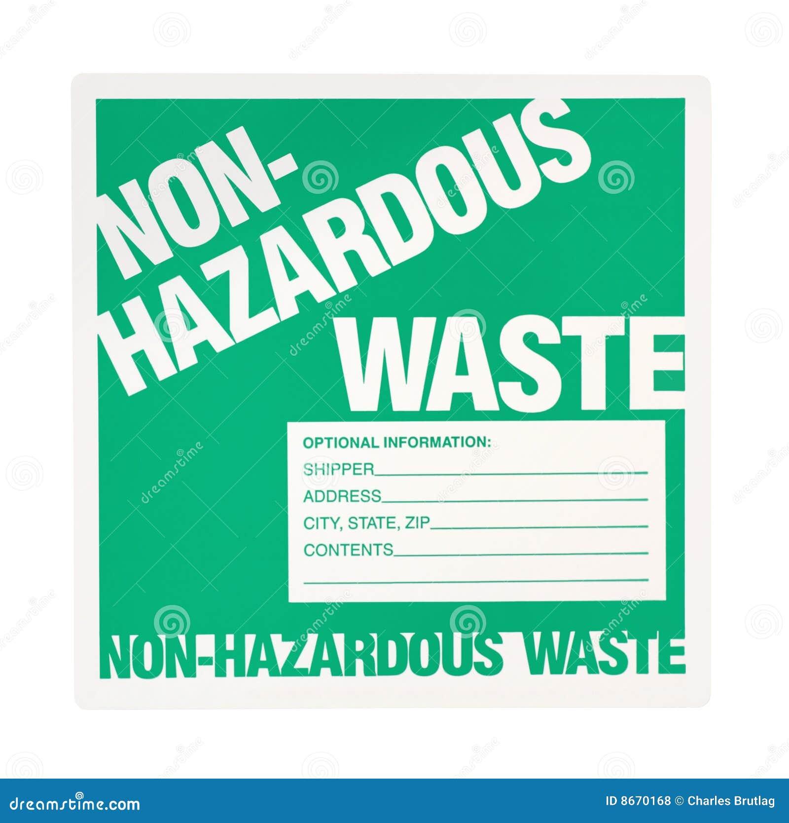 All Hazards Waste Management Planning Wmp Tool: Non-hazardous Waste Label Royalty Free Stock Photos