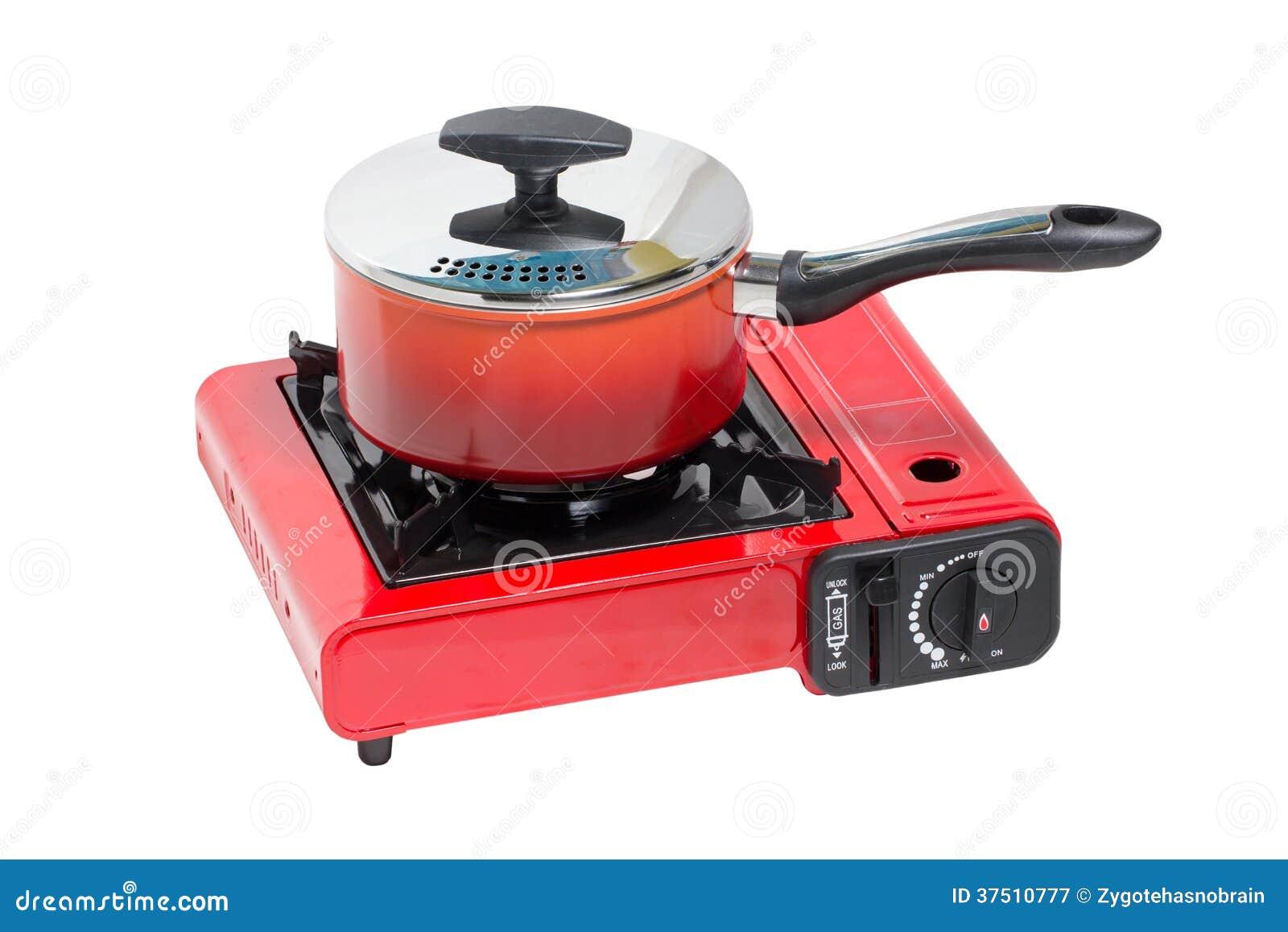 Non Stick Pot On Portable Gas Stove Stock Image Image