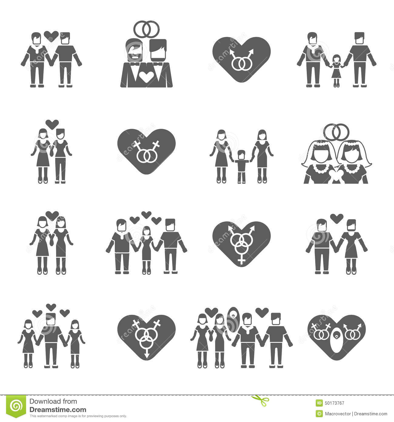 Non-traditional Family Icons Set Black Stock Vector - Image: 50173767