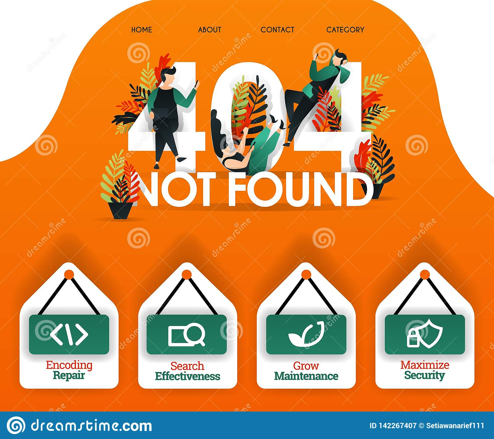 404 NON TROVATO con la gente che cerca errore ed i problemi può usare per, pagina atterrare, il web, il app mobile, il manifesto,