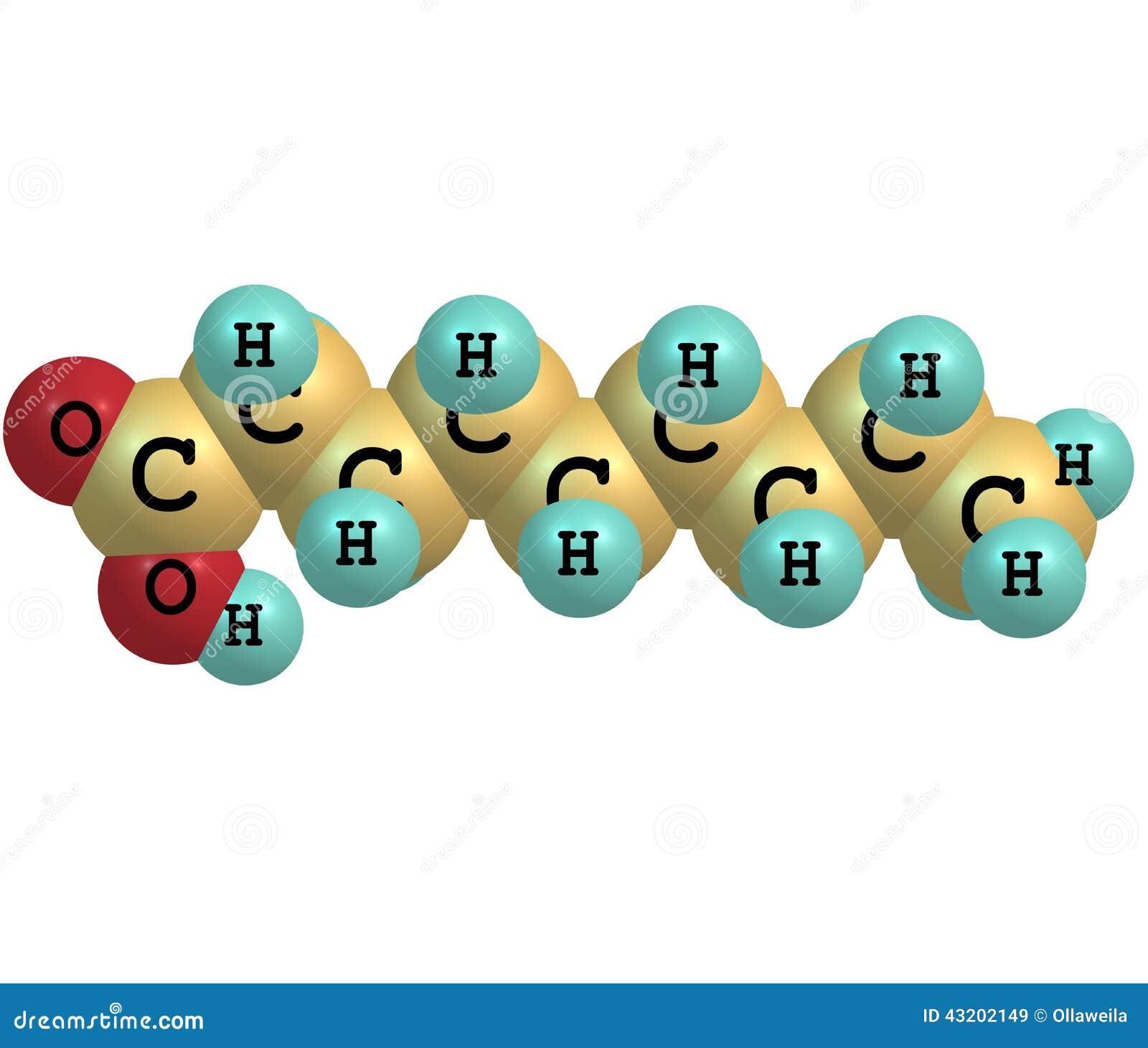 Download Nonanoic (pelargonic) Syrlig Molekyl Som Isoleras På Vit Stock Illustrationer - Illustration av snitt, skyddande: 43202149