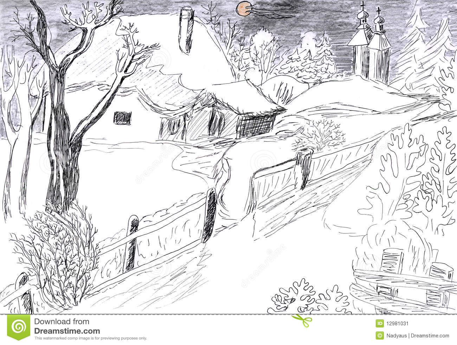 图画村庄冬天 库存图片