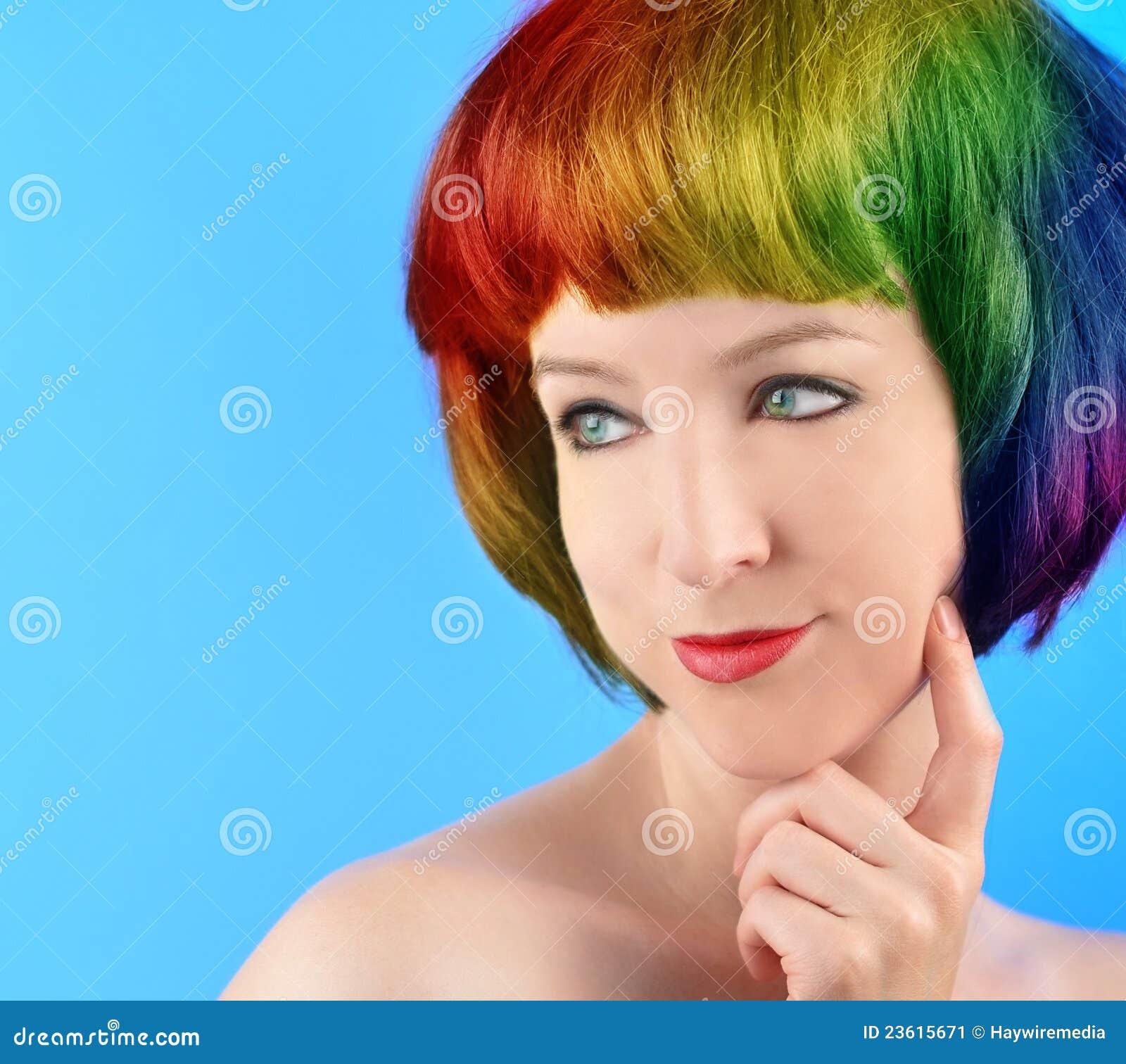 头发愉快的彩虹认为的妇女图片