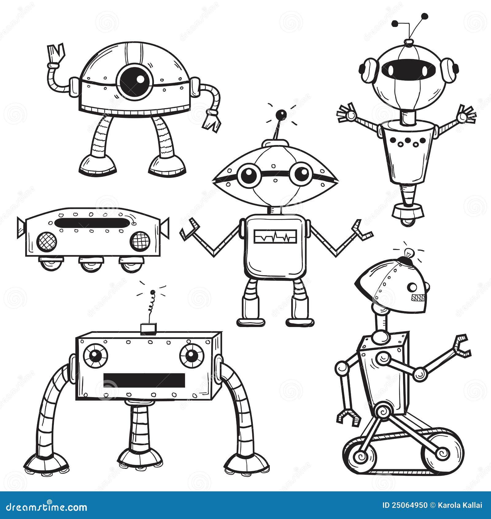 简笔画大白机器人_收集机器人