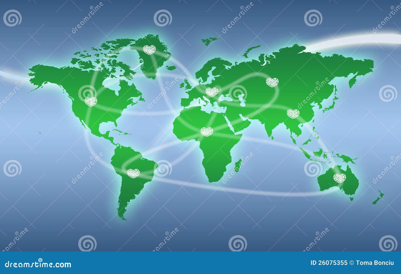 与重点连接数的绿色世界地图