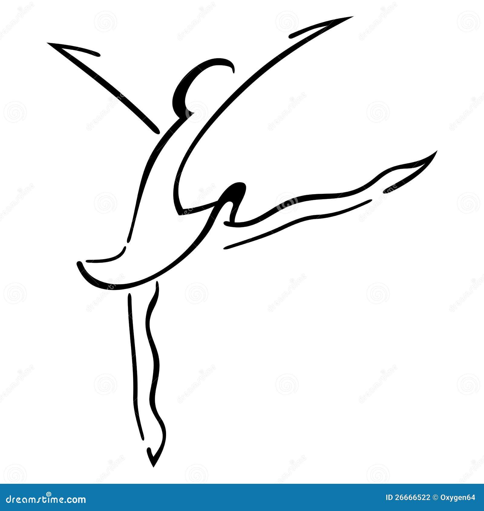 跳舞现代步骤的妇女的符号