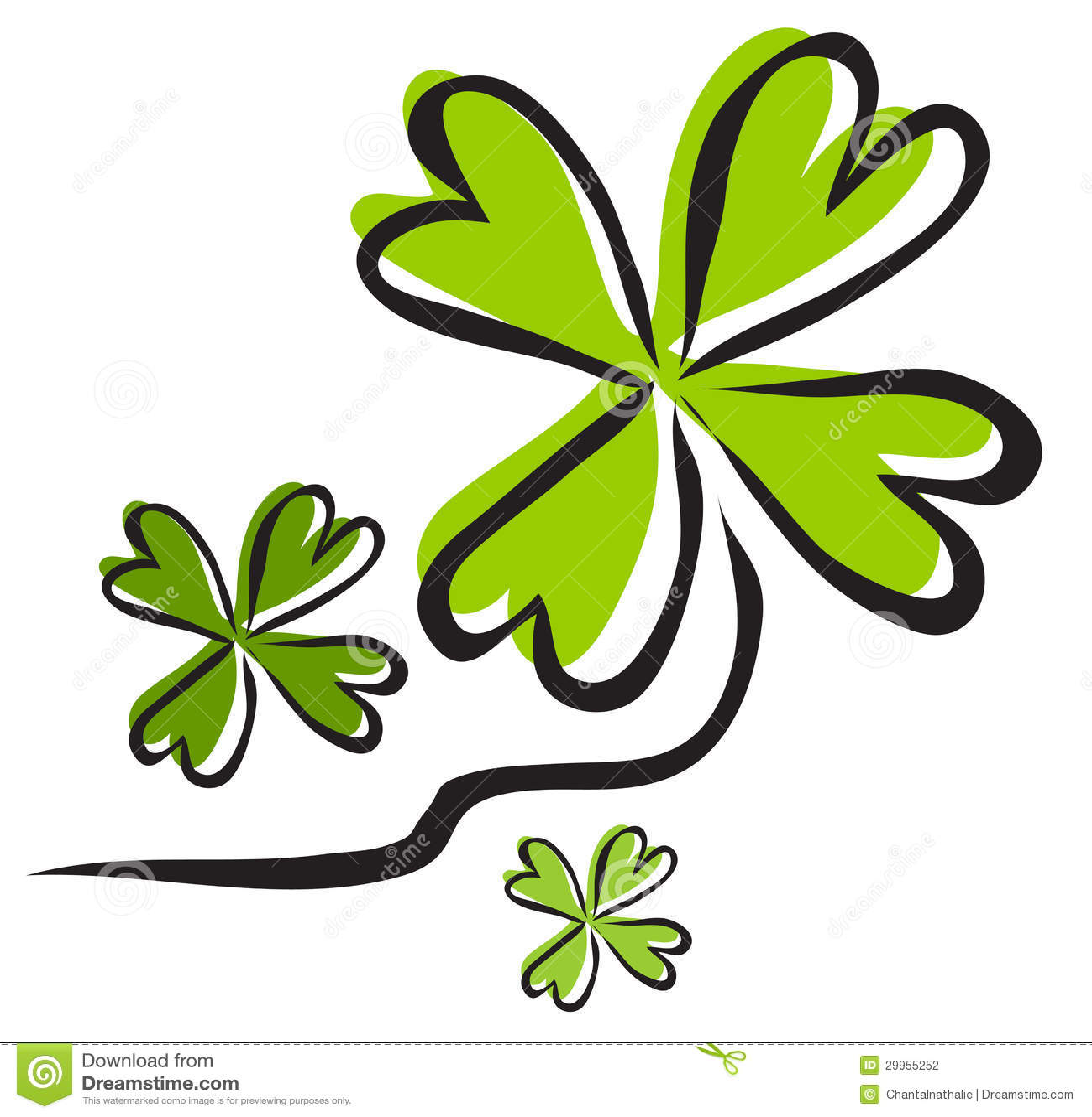 典雅的手拉的四片叶子三叶草,运气的标志,您的设计的.图片