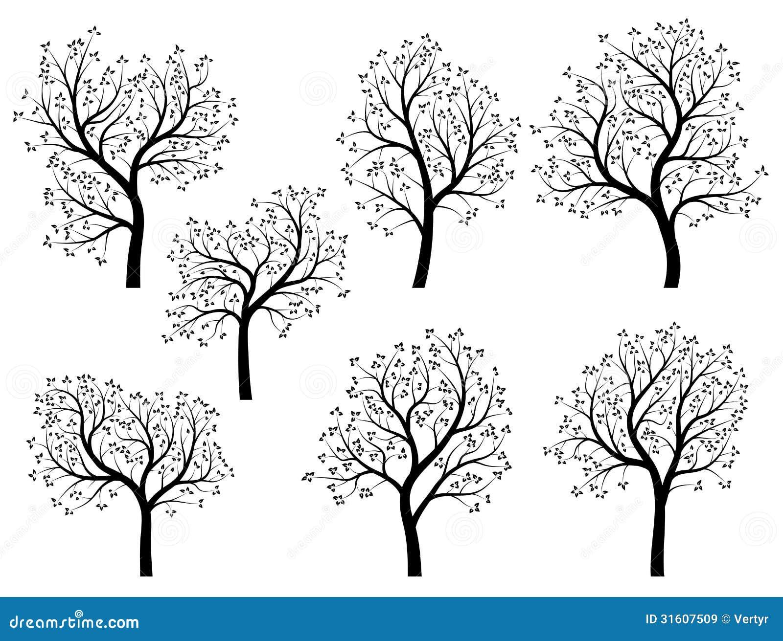 套抽象传染媒介传统化了春天树的例证与叶子和花的.图片
