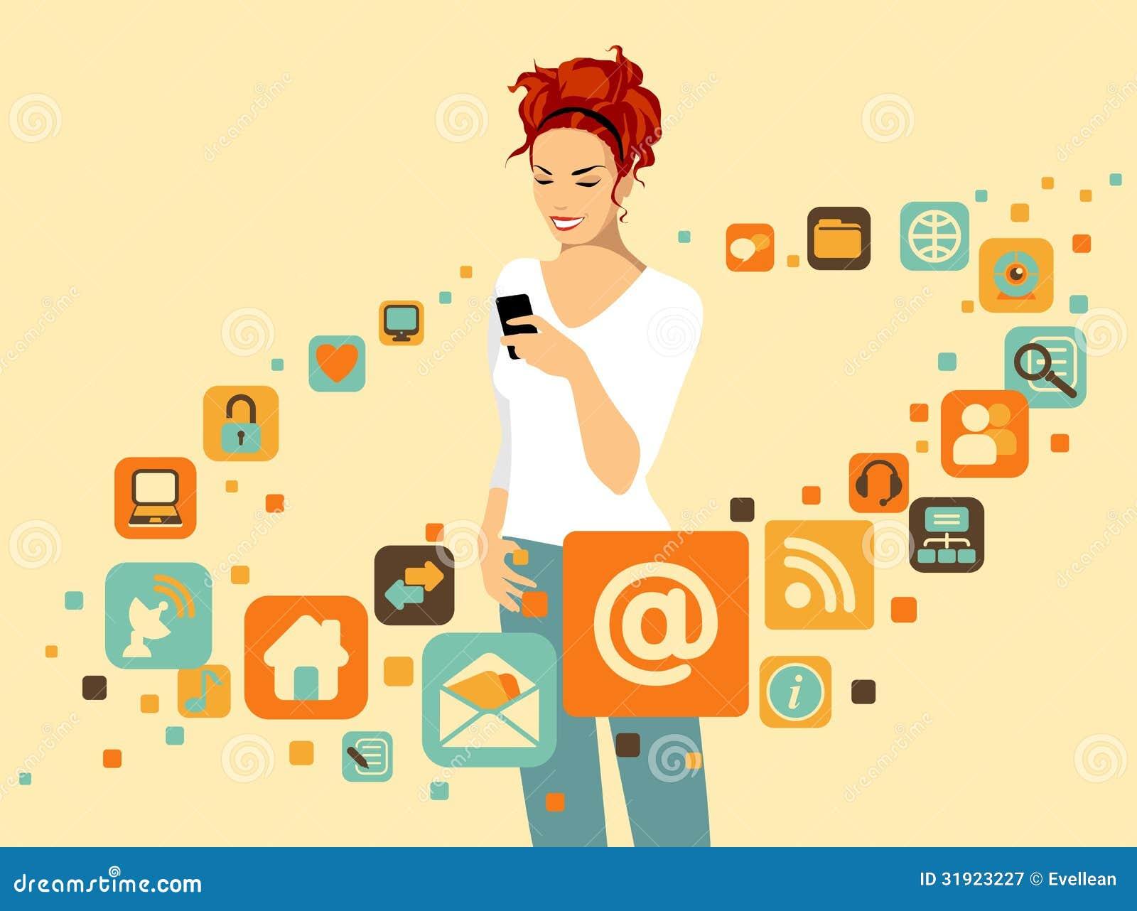 有智能手机的妇女图片