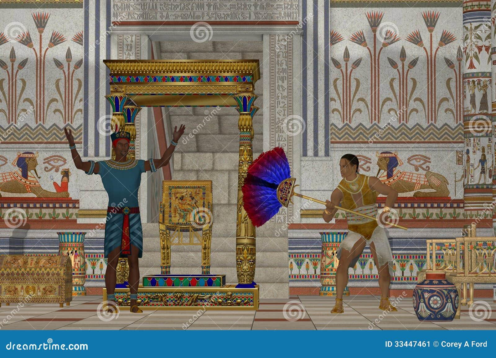 当他与他的主题谈话在埃及宫殿,仆人扇动法老王.