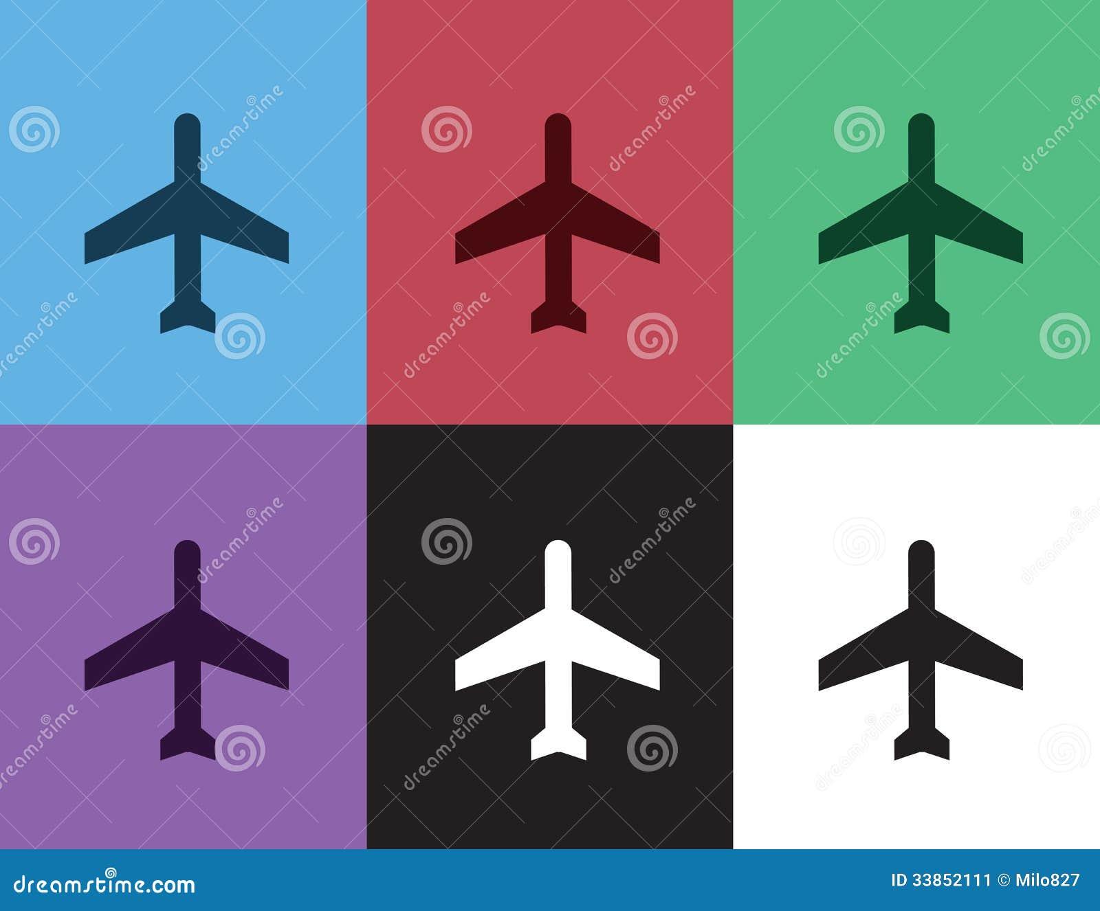 飞机剪影颜色 库存图片