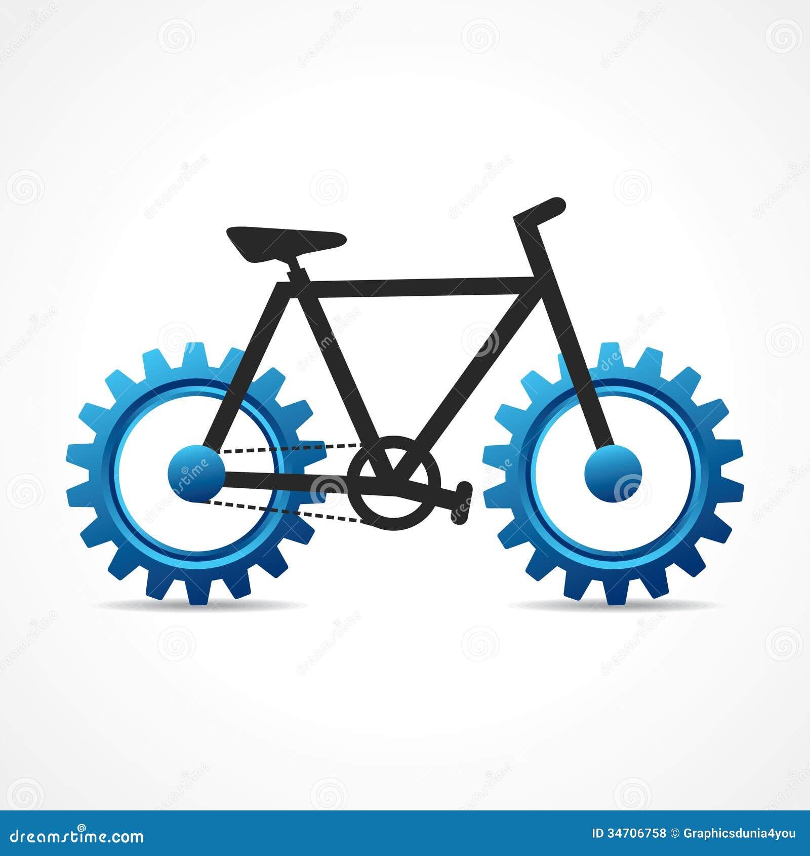 有嵌齿轮轮子的自行车 高清图片