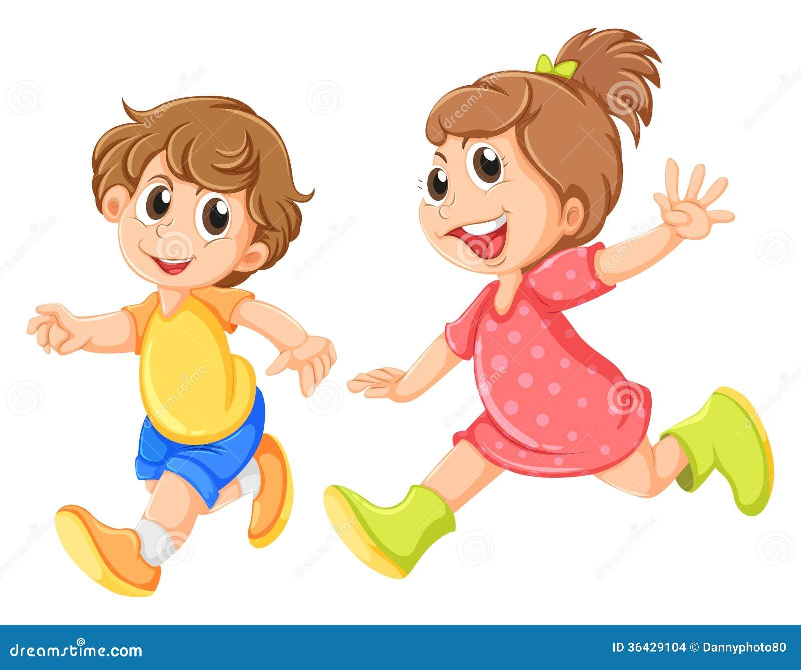 小女孩和小男孩_使用在白色背景的一个小女孩和一个小男孩的例证.