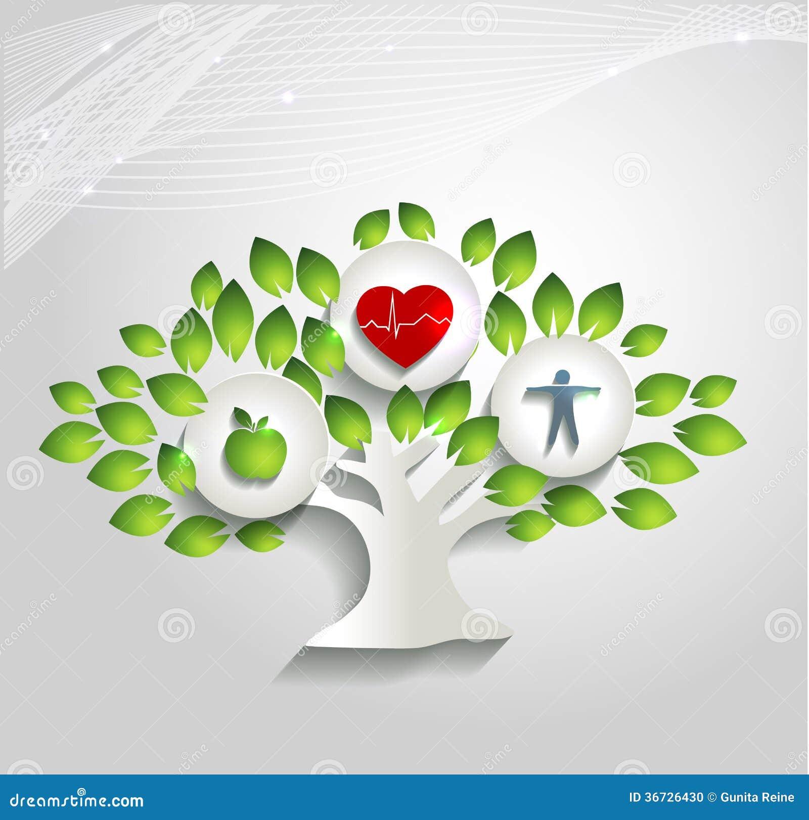 健康食物和健身导致健康心脏和生活.美好的明亮的设计.