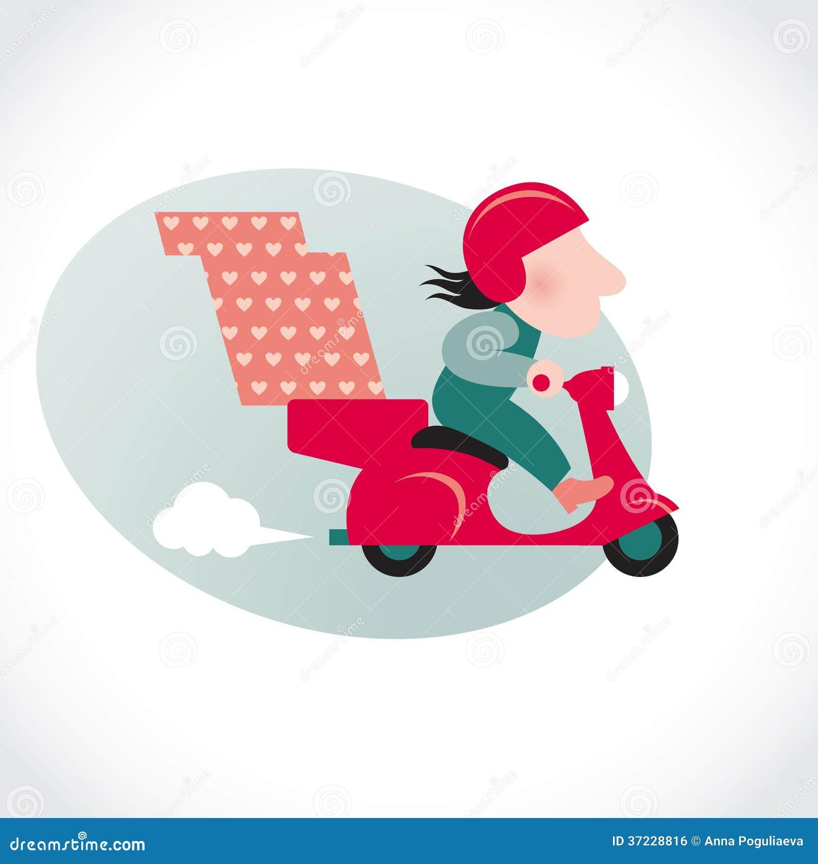 红色摩托车的滑稽的薄饼送货人.图片