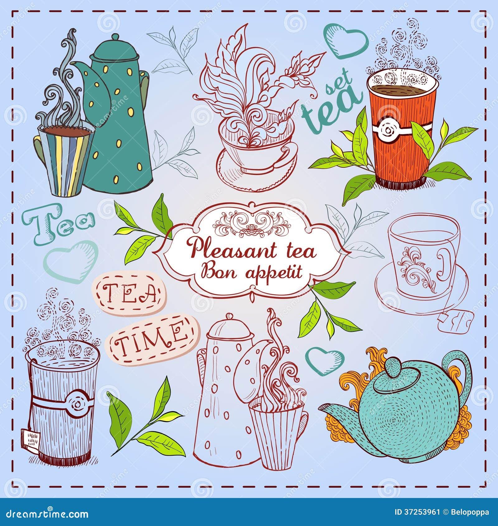 逗人喜爱的手拉的茶壶,杯子和杯形蛋糕.图片