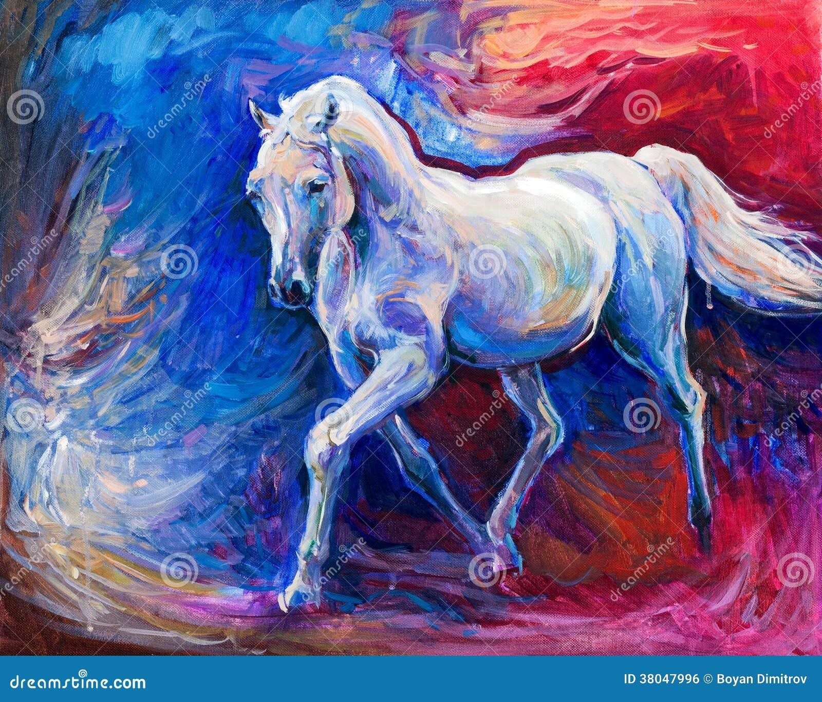 美好的蓝色马赛跑的原始的抽象油画.现代impressionism.图片