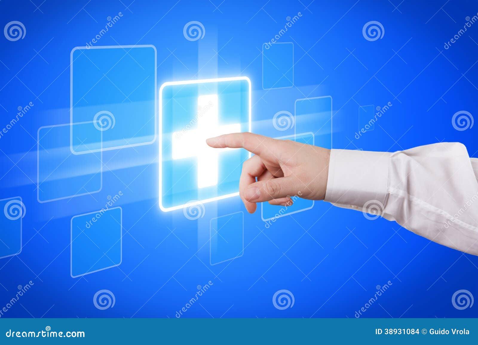 天津港物流�y�k��+_运转在未来派触摸屏幕显示的男性医生手.