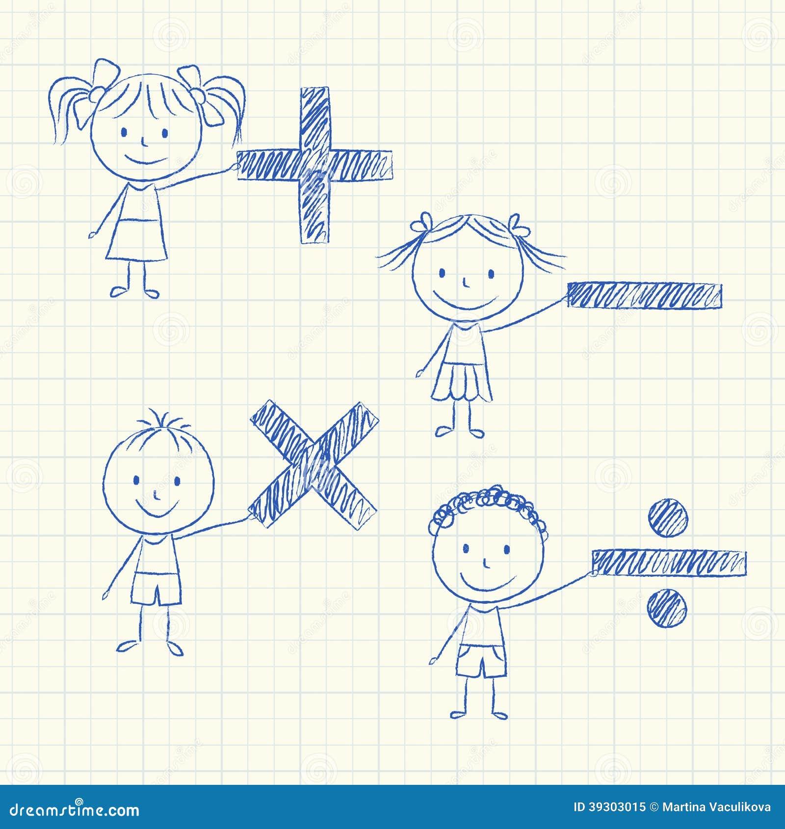 数学符����9�$9�9f�j_拿着数学符号-粉笔画的孩子的例证.