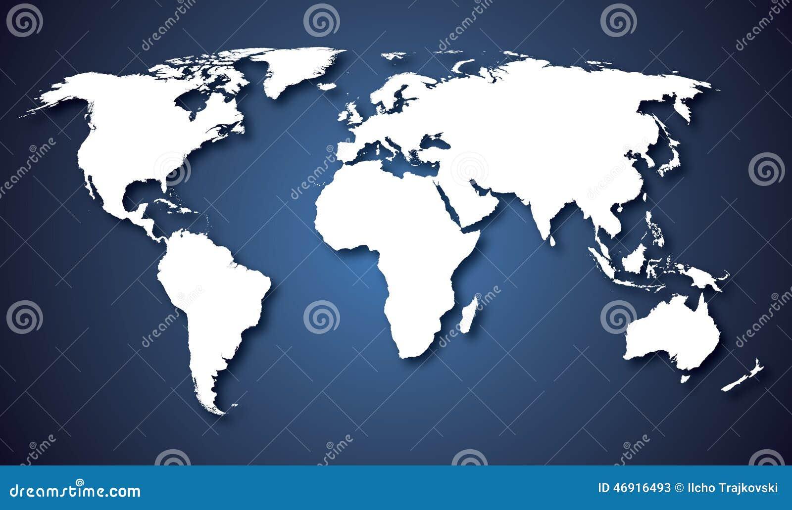 世界地图国家蓝色梯度