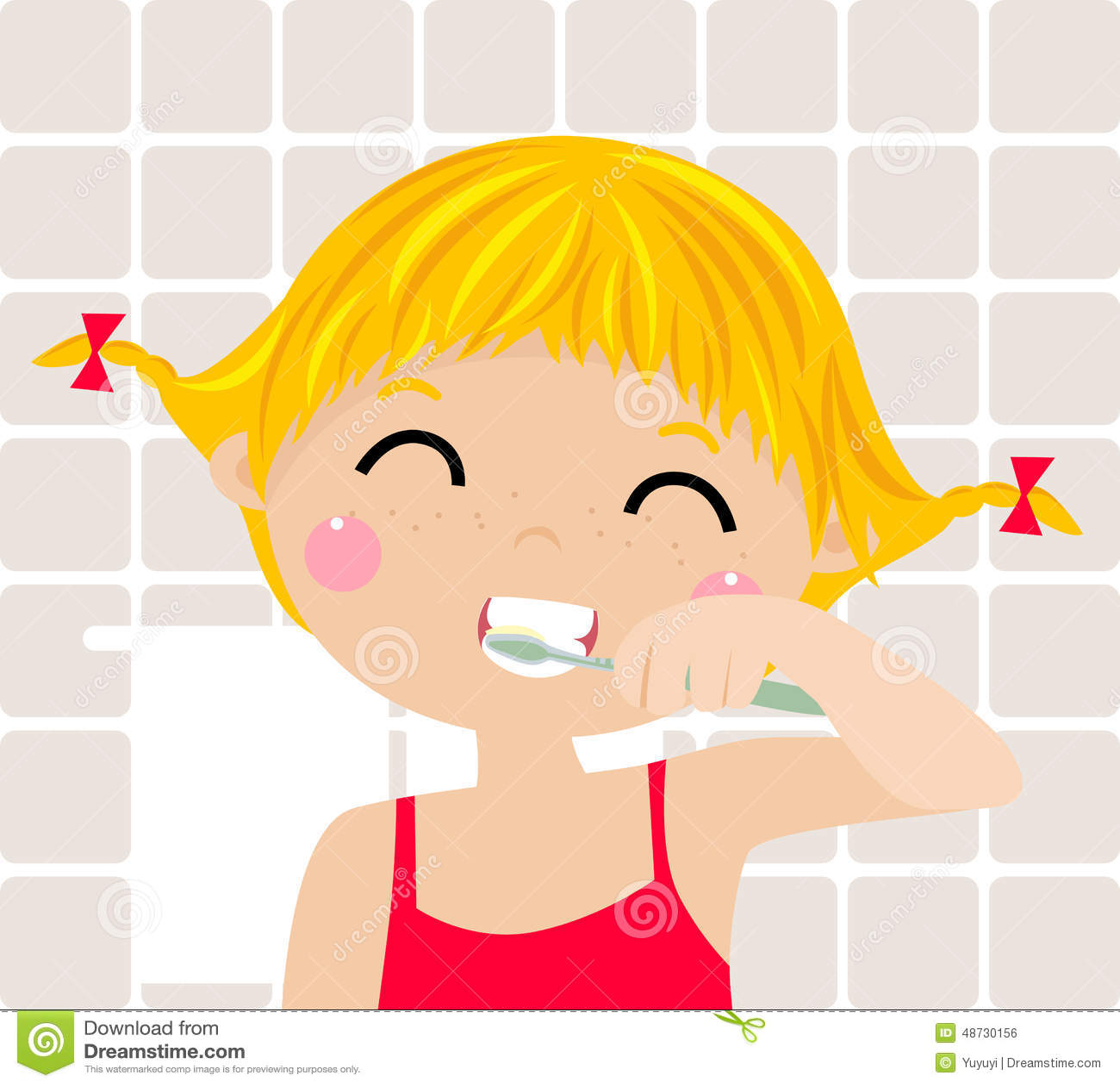 刷她的牙的一个小女孩图片