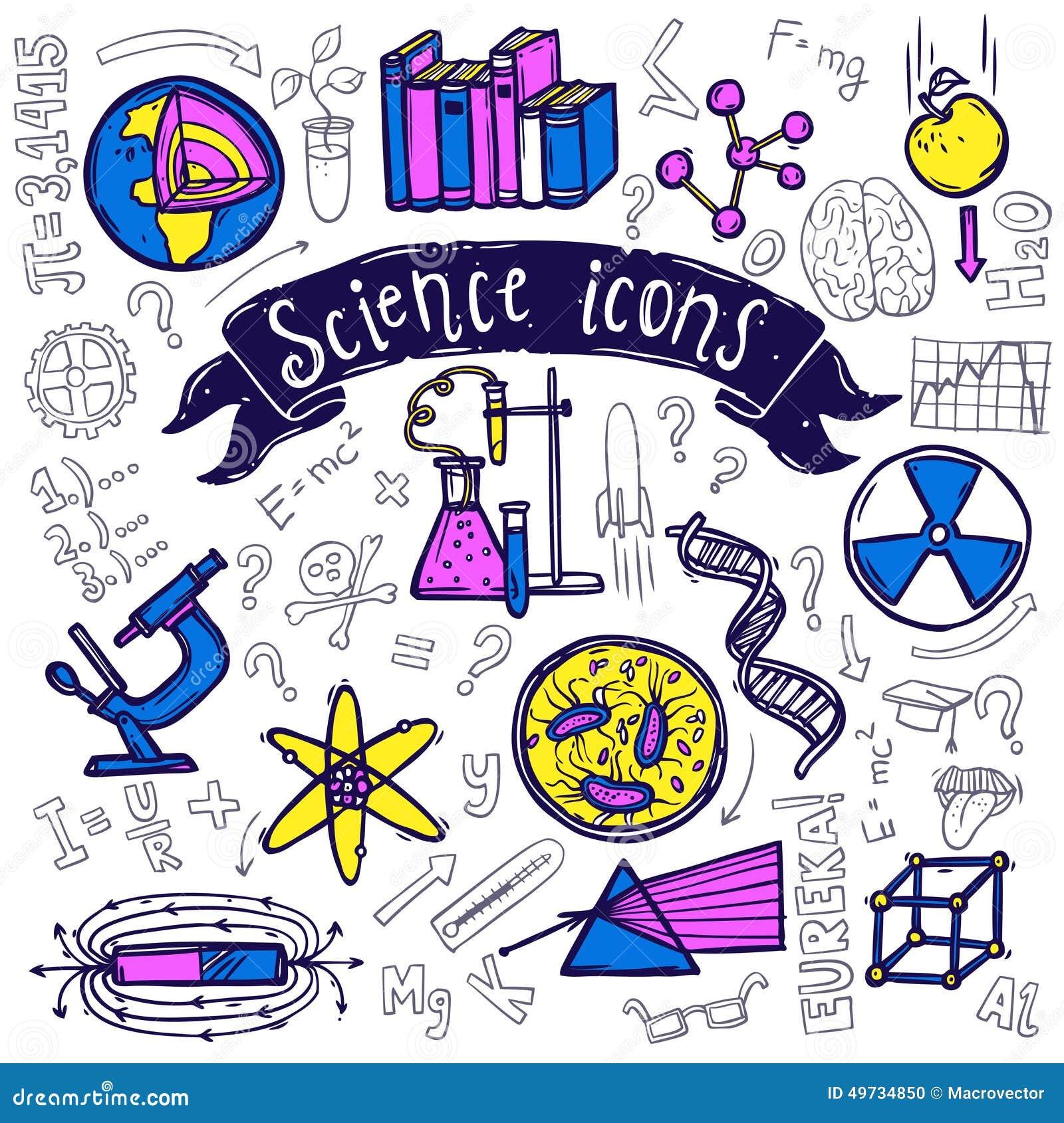 科学标志象乱画剪影