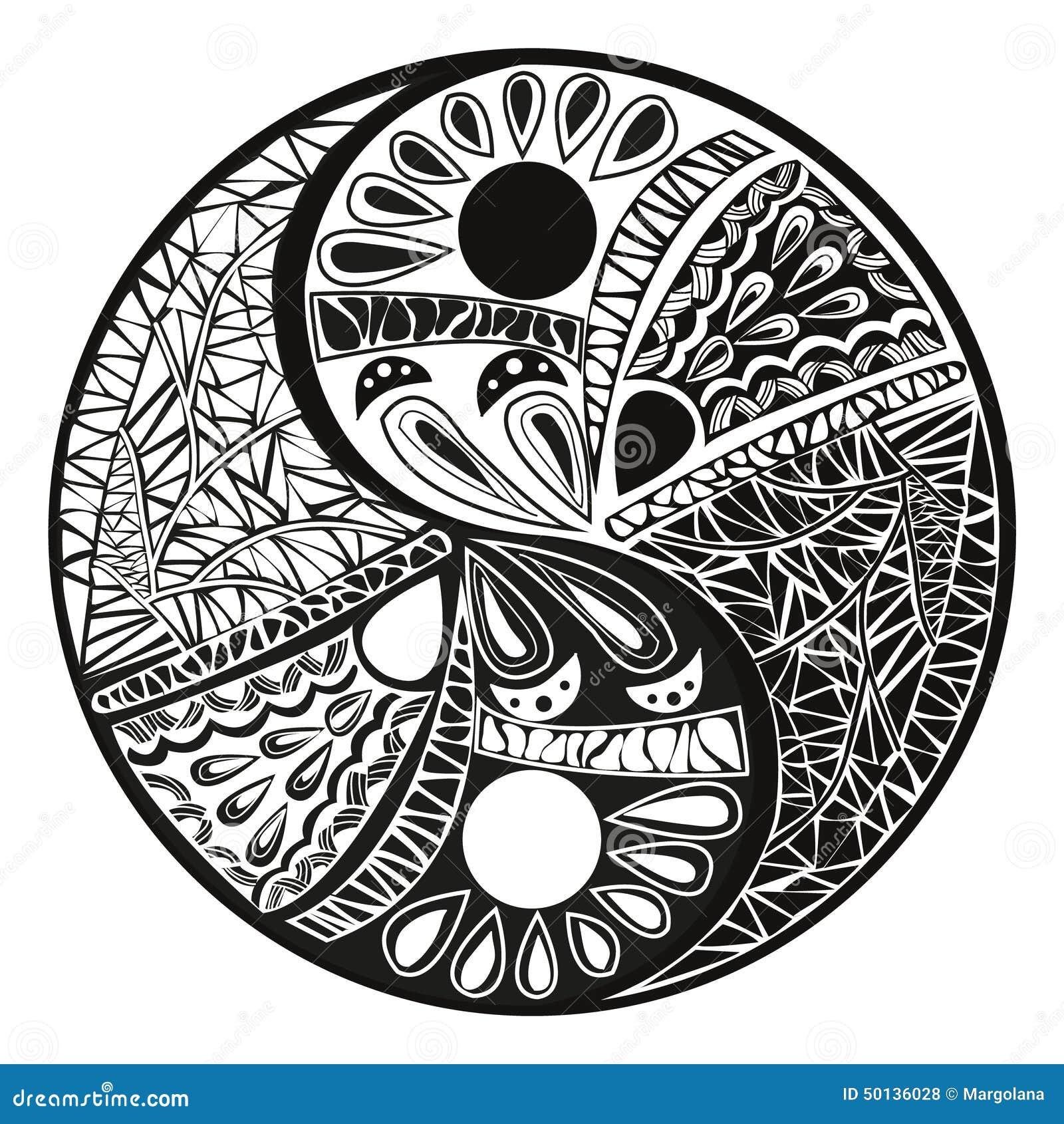 尹杨标志,在白色背景的亚洲装饰元素样式 设计标志例证的尹杨纹身花刺