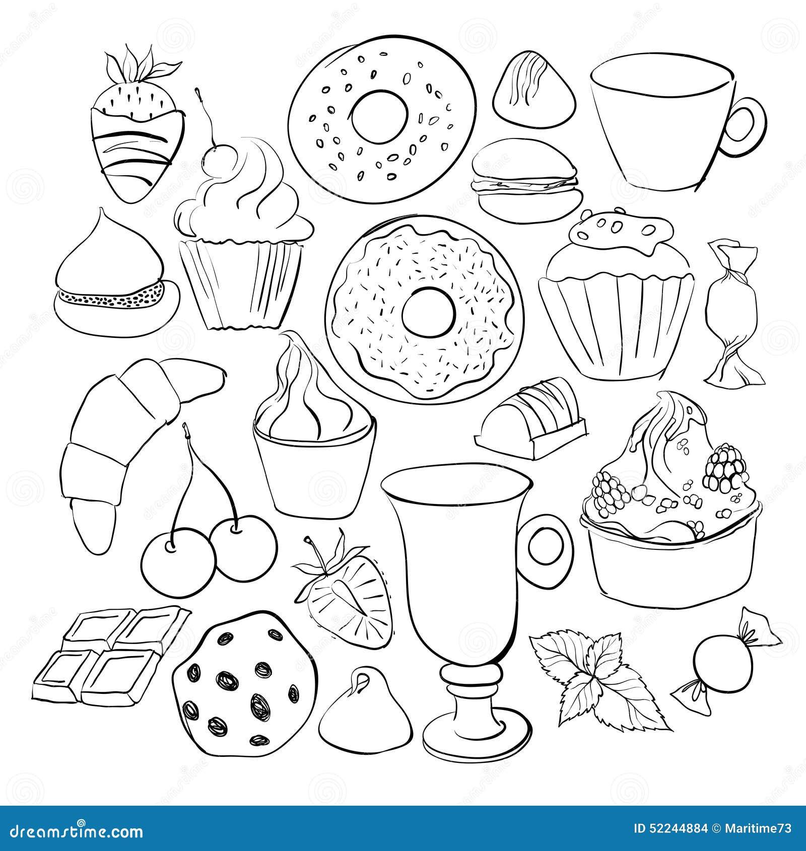甜点和糖果剪影 套各种各样的乱画,手拉图片