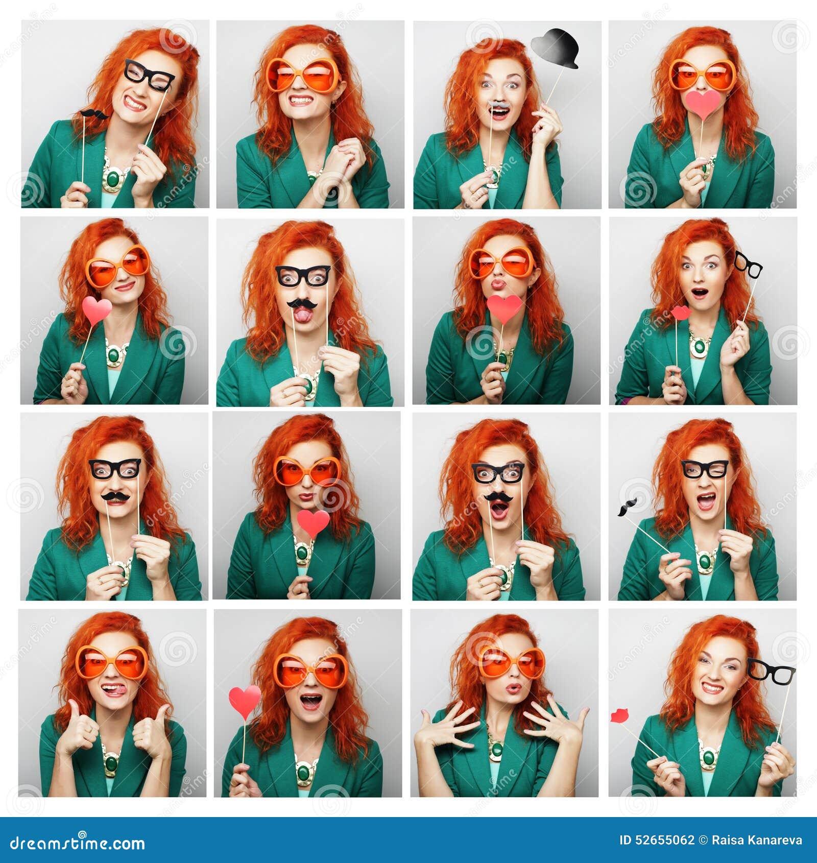 库存照片: 妇女不同的表情拼贴画图片