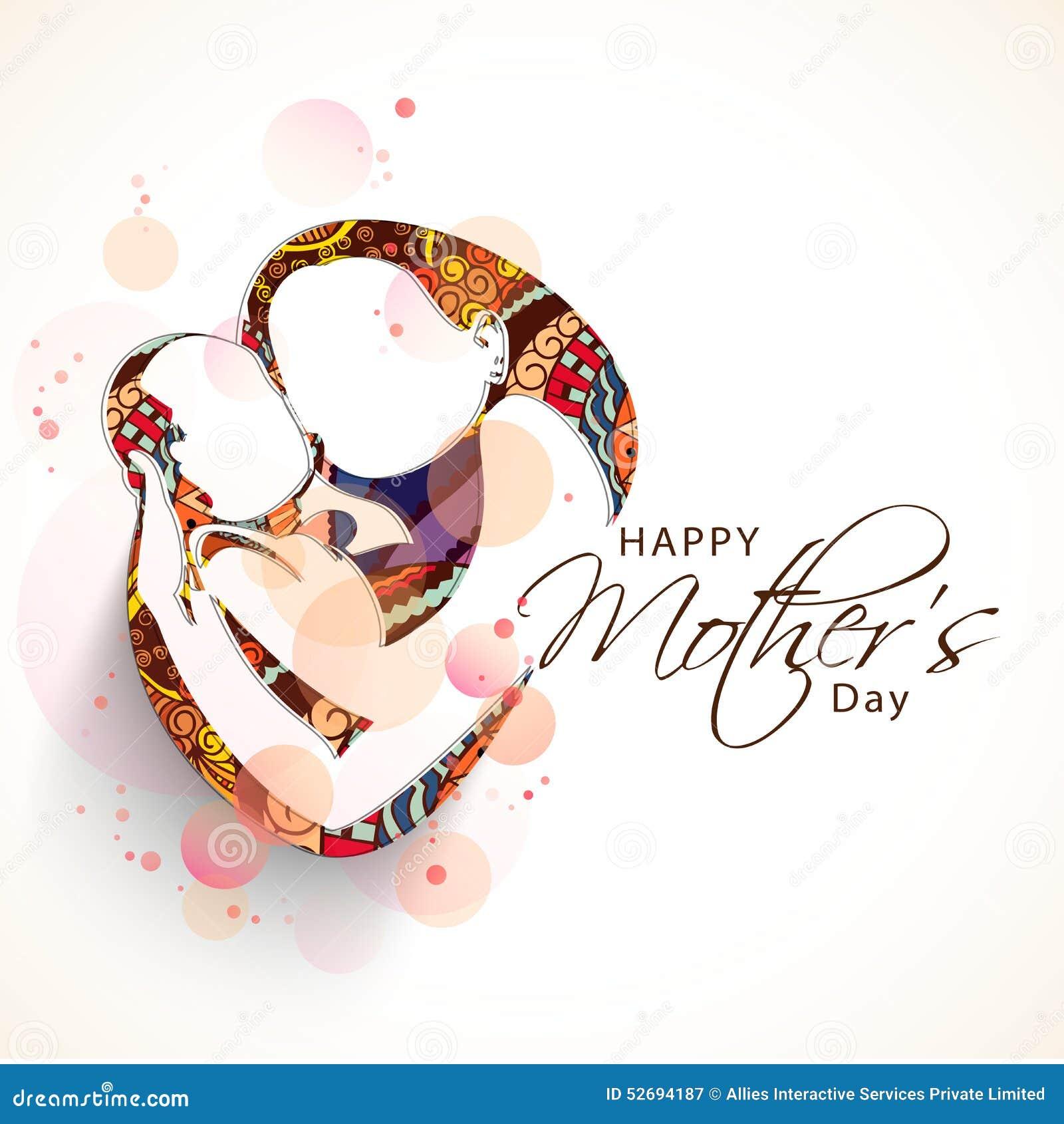 一个妈妈的创造性的剪影有她的孩子的愉快的母亲节庆祝的花卉设计的.