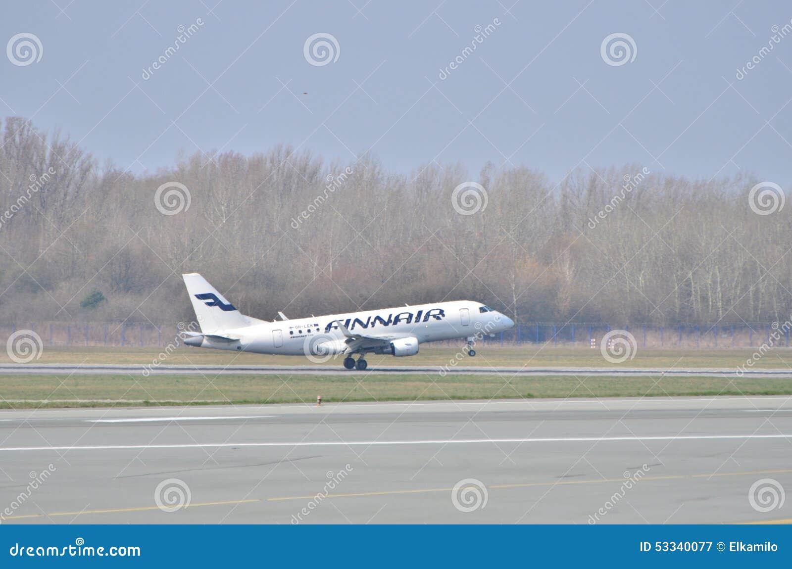 芬兰航空公司飞机 图库摄影片