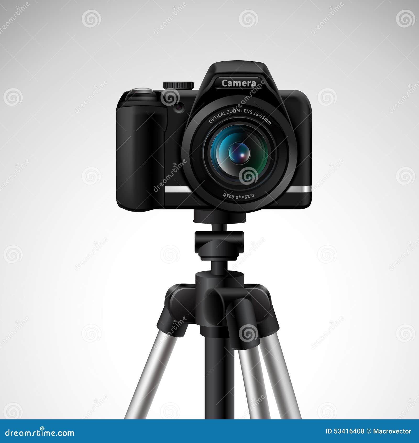在白色背景传染媒介例证隔绝的三脚架的现实数字式照片照相机.