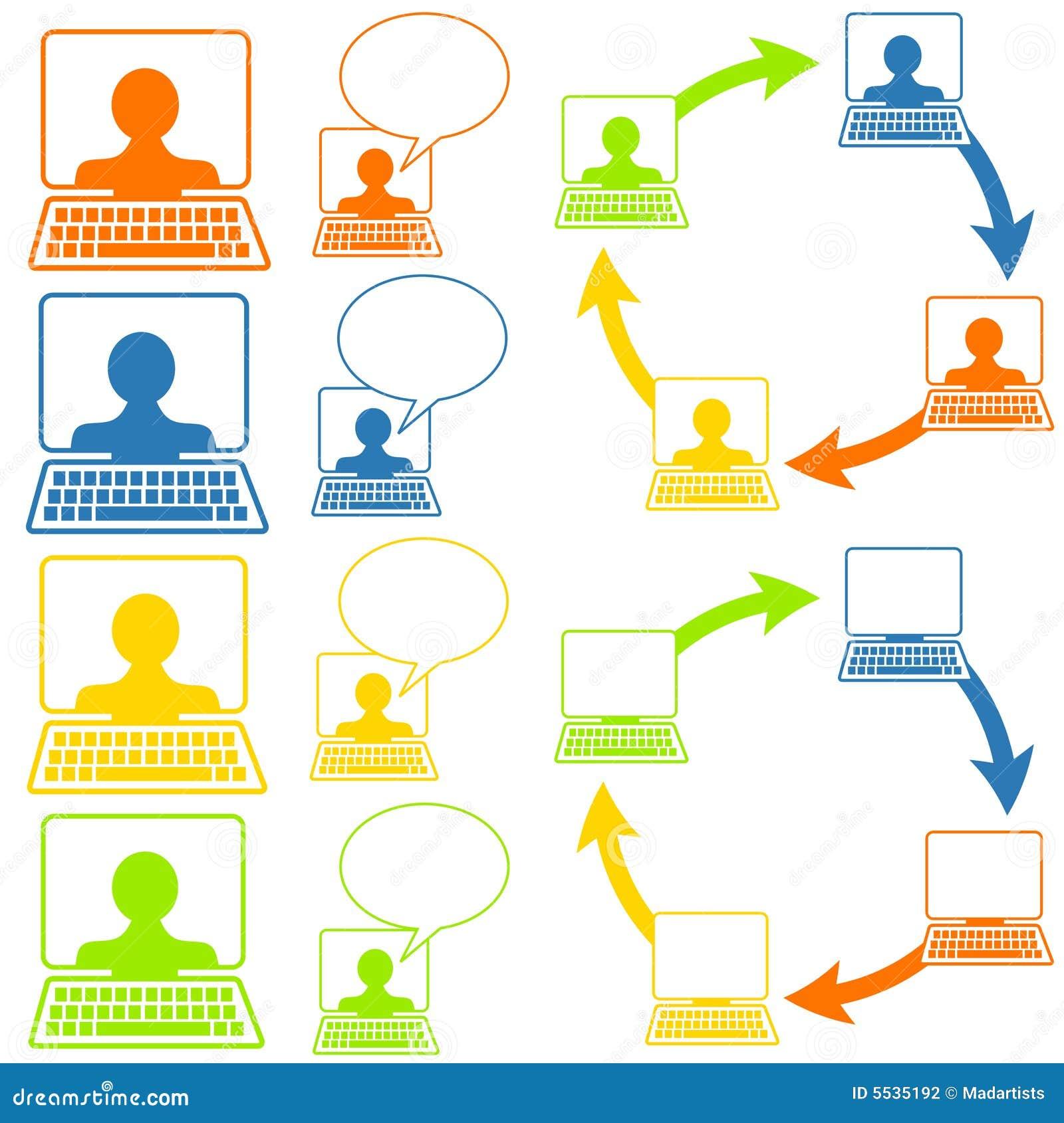 箭头起泡以图标例证网络连接屏幕选择社会谈话为特色的五颜六色的图片