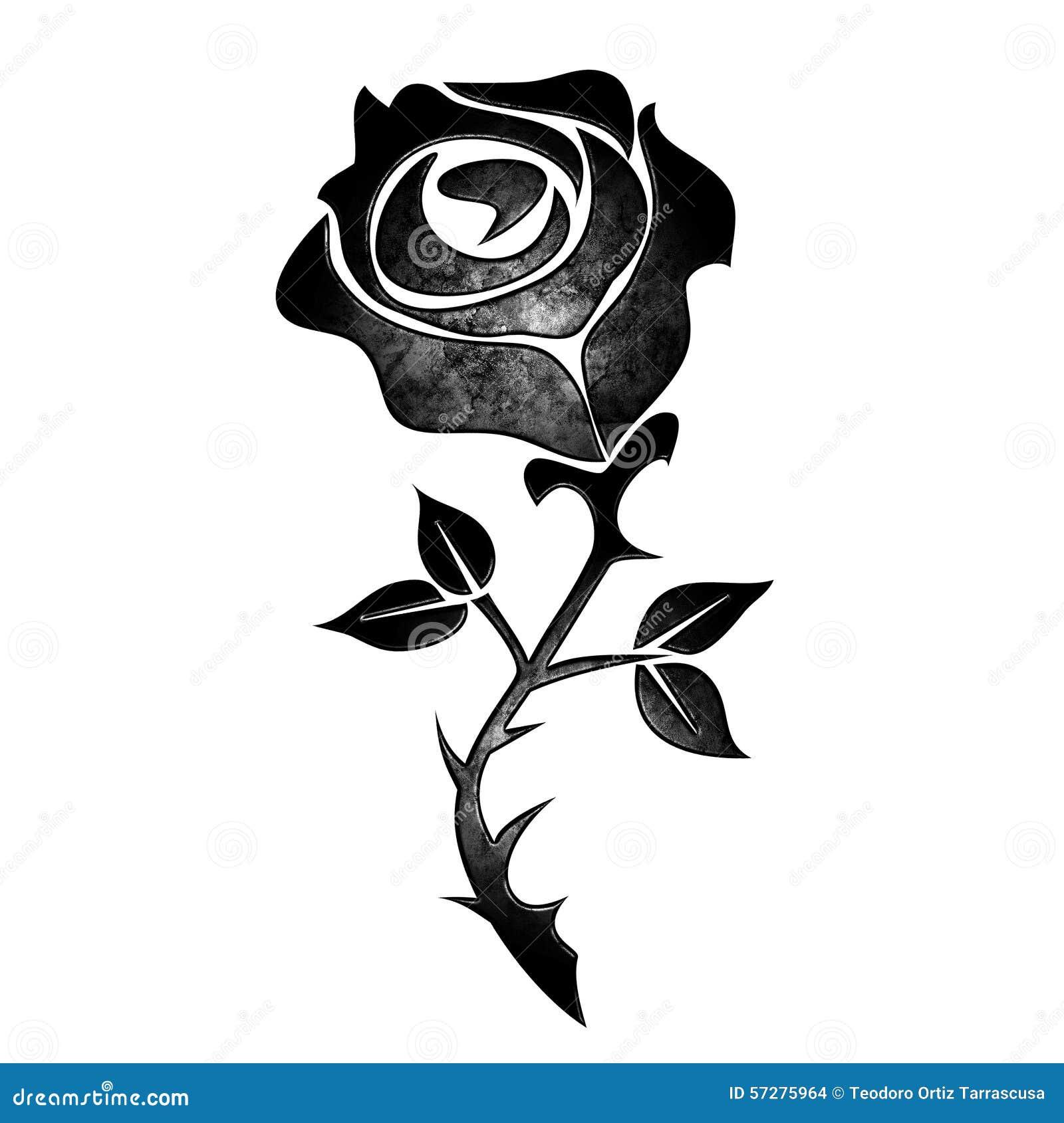 一朵黑玫瑰的纹身花刺.