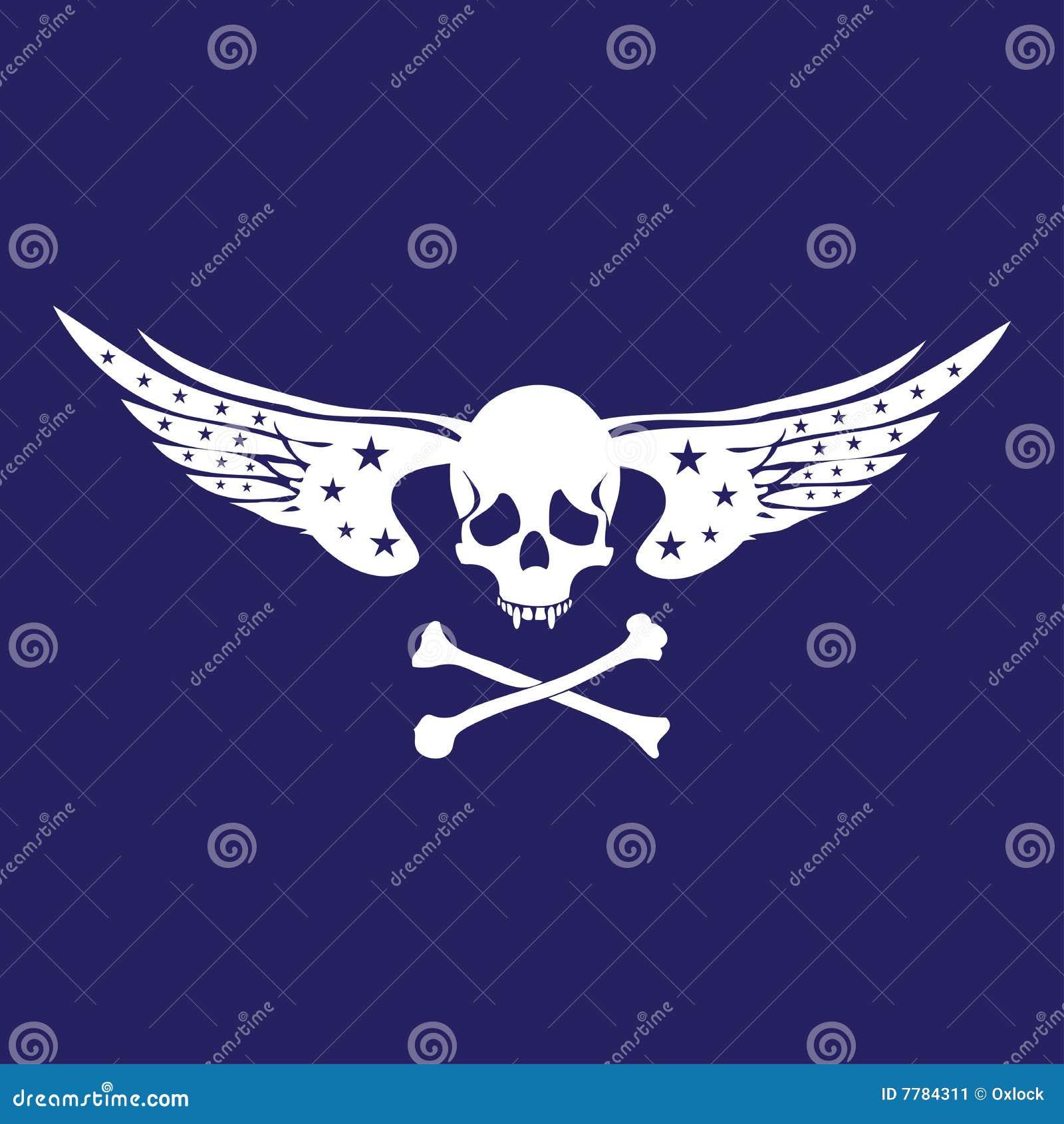抽象背景两骨交叉图形形状头骨白色翼.