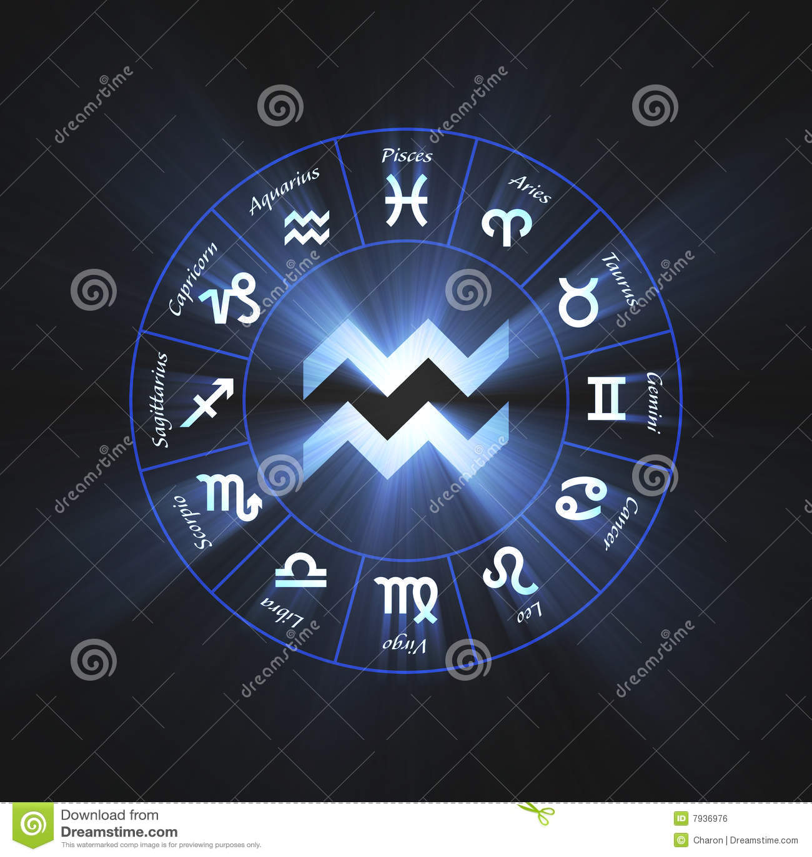 宝瓶星座占星术火光符号