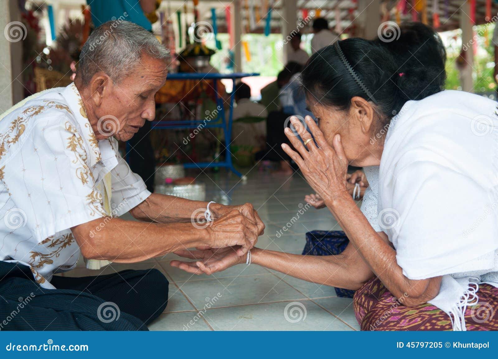 Nongkhai Thailand  city photos : Nongkhai, THAILAND OCTOBER 08 : Bind the holy thread in Thai rite on ...