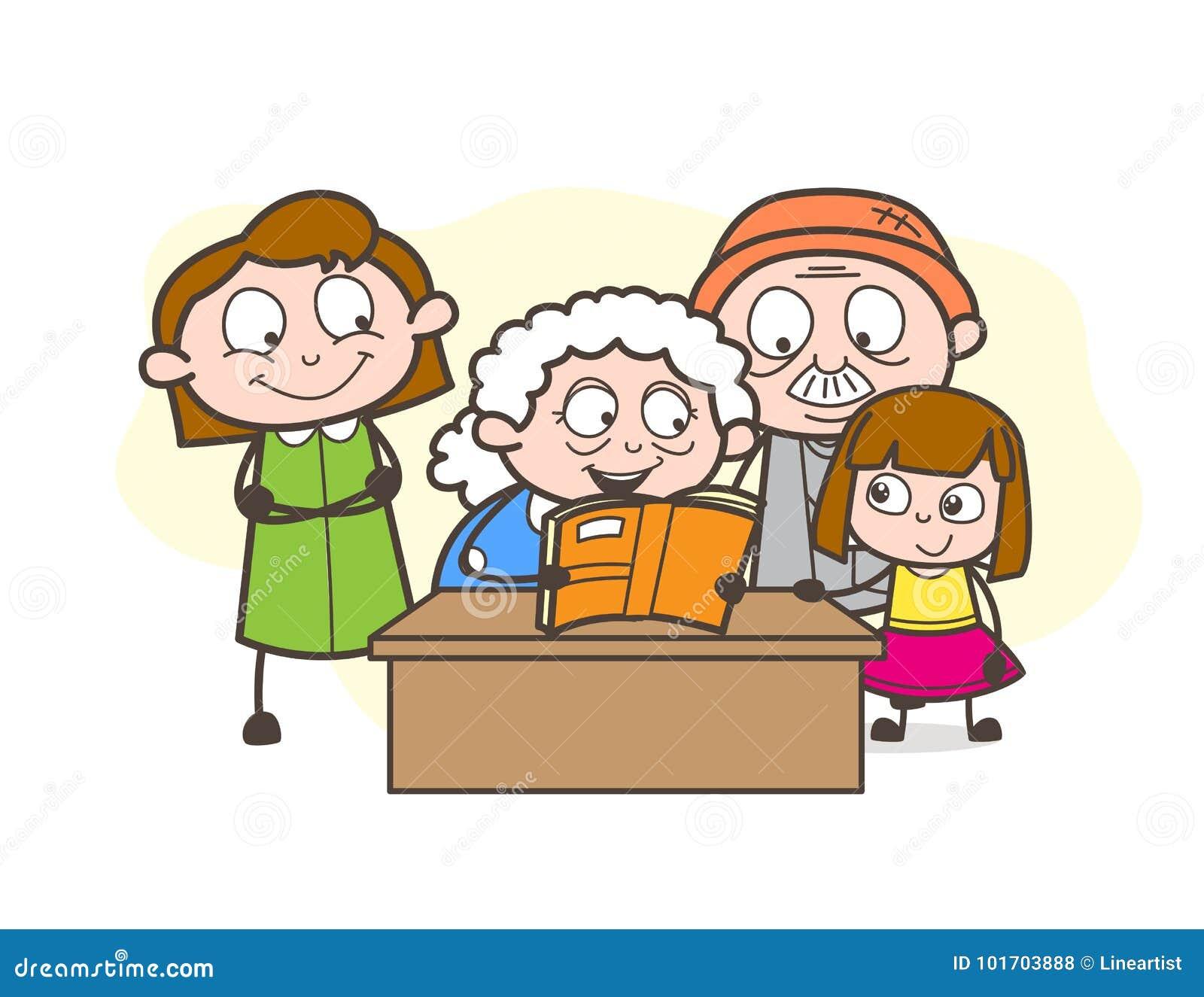 Nonna del fumetto che racconta una storia alla loro grande illustrazione di vettore dei bambini