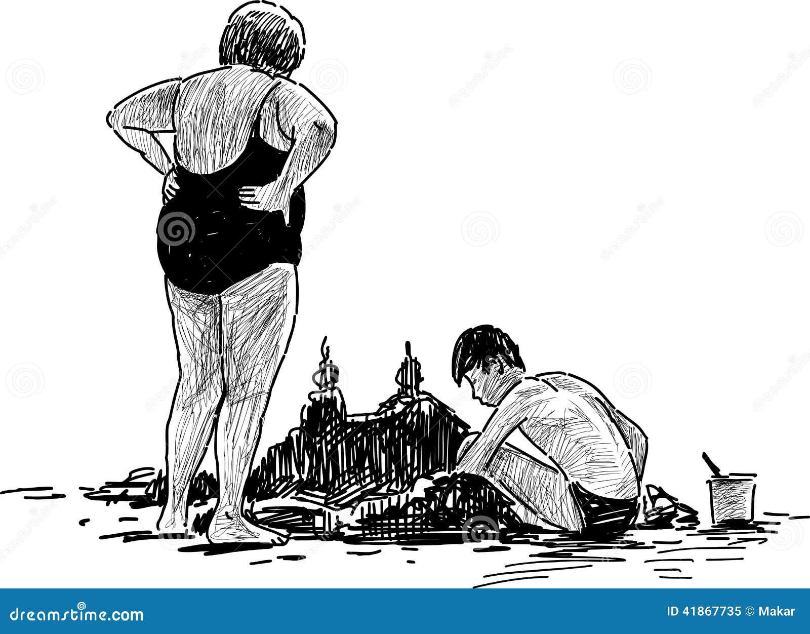 Nonna e nipote sulla spiaggia illustrazione vettoriale for Disegno della casa sulla spiaggia