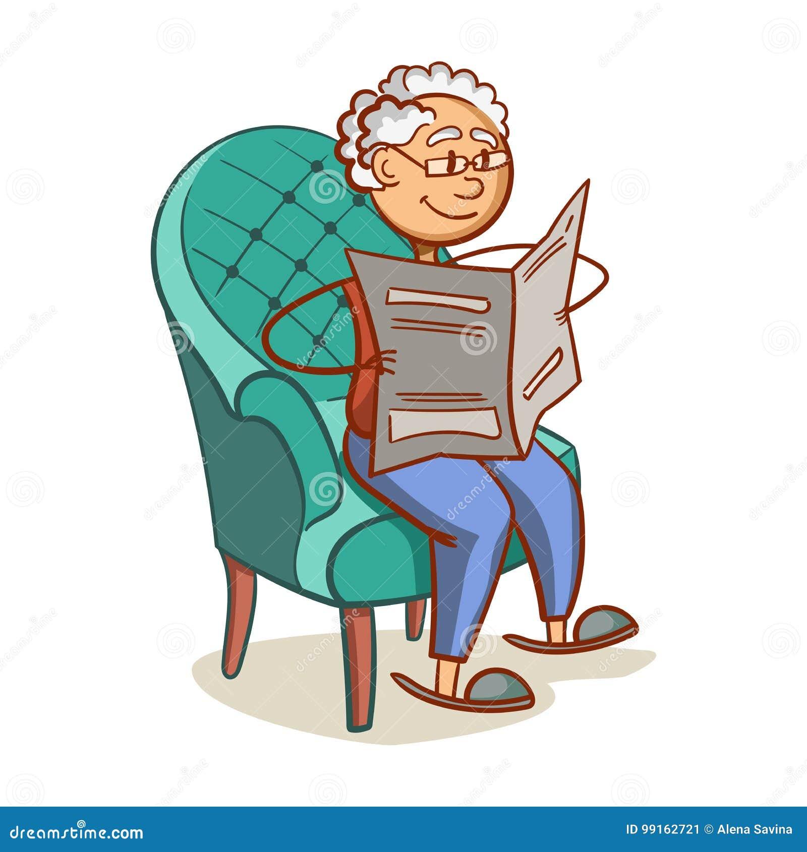 Nonno In Poltrona.Nonno Che Legge Un Giornale Illustrazione Vettoriale