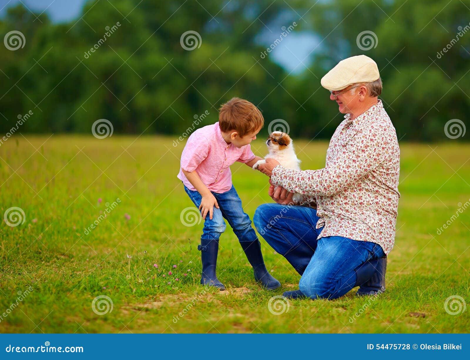 Nonno che presenta piccolo cucciolo al nipote, giocante con il cane